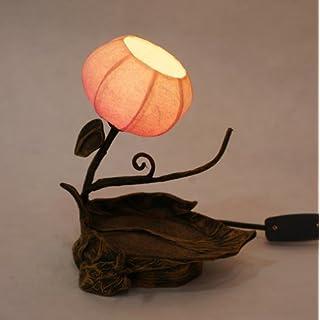 Antique Alive Lámpara Lampe Reispapier handgefertigt Motiv Zweig und Blatt Sonnenschirme rund Globo braun Ostasien von häuslicher Nachttisch Dekoration Rustikales Schlafzimmer Deko für Tisch Mini