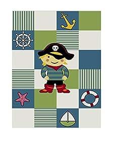Kinderteppich Spielteppich Kinderzimmer Teppich Pirat Design mit Konturenschnitt Türkis Weiss Grün Rot Schwarz Gelb Pink Größe 120x170 cm