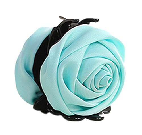 un Belles Clips Rose Fleur Cheveux Ponytail clip, bleu clair