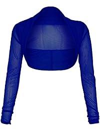 Home of Fashion Sheer Mesh Chiffon Long Sleeve Cropped Shrug Bolero Cardigan - Various Colours