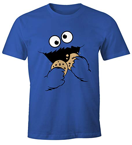 Einfach Auge Kostüm Im Linken - MoonWorks® Herren T-Shirt Krümelmonster Keks Cookie Monster Fasching Karneval Kostüm blau L