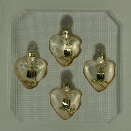 Corazones Pequeño champán con vela conjunto de 4árbol de Navidad adornos árbol de Navidad soplado artesanalmente y decorado a mano lauschaer Glas cristal lacado Original
