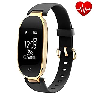 Fitness Tracker for Women Heart Rate Monitors Step Counter Activity Trackers Smart Bracelet Smart watch IP67 Waterproof Bluetooth Pedometer Wristband Sleep Monitor for Android & IOS Smartphone (Black)