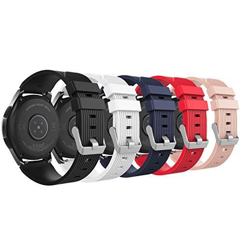MoKo Armband für Samsung Galaxy Watch 46mm, Silikon Uhrenarmband Erstatzband mit Schließe für Samsung Galaxy Gear S3 Classic/Frontier/Moto 360 2nd Gen 46mm/Fenix 5 Smart Watch - Mehrfarbig A - 46 Silikon