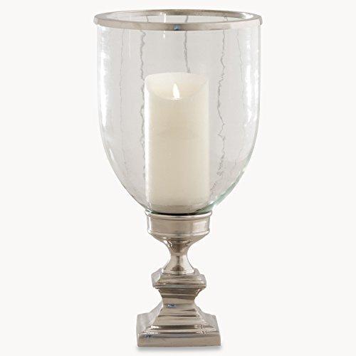 kenwyn Christbaumkugel Hurricane Lampe Kerzenhalter Rauch gestreift Glas mit Silber Sockel zu schmücken beliebige Kommode oder Tisch (Hurrikan-lampen Für Kerzen)