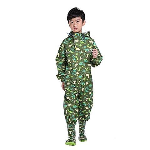 Ezyoutdoor Cartoon Animal Waterproof Children Raincoat with School Bag Cover for Children Kids Rain Poncho Coat Kids Hooded Rain Poncho Raincoat Cover Long Rainwear (Green)
