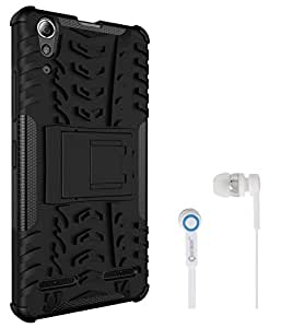 Chevron Hybrid Shock Proof Back Cover Case with Kickstand for Lenovo A6000 Plus With Chevron 3.5mm White Stereo Earphones (Black)
