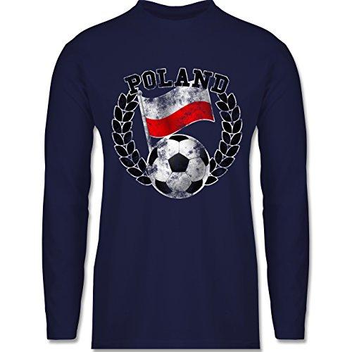 EM 2016 - Frankreich - Poland Flagge & Fußball Vintage - Longsleeve / langärmeliges T-Shirt für Herren Navy Blau