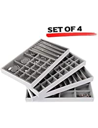 JackCubeDesign Joyería de cuero apilable Bandeja collar de pendiente Pulsera Anillo Organizador Pantalla Caja de almacenamiento (Juego de 4, blanco, 40,6 x 24,4 x 4 cm) -MK212-2ABCD