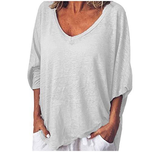 SSUPLYMY Damen Kurzarm Hemden Bluse T-Shirt Damen Frauen Kurzarm Lose Knopfleiste Bluse Einfarbig Rundhals Tunika T-Shirt Frau Lose T-Shirt Lässige V-Ausschnitt Kurzarm Top