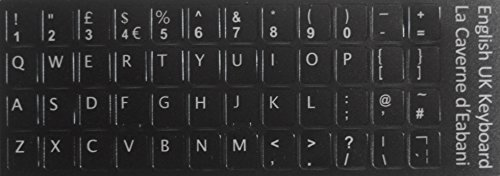 La Caverne d'Eabani® Qwerty Keyboard Stickers Self-adhesive English UK British Layout