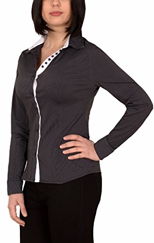 by-tex Damen Stretch - Business - Bluse Damen Popeline Bluse Hemd Langarm mit Nadelstreifen in aktuellen Farben B304 (Stretch-popeline Damen Bluse)