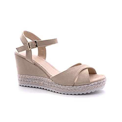 Angkorly - Chaussure Mode Sandale Espadrille Plateforme Femme Corde Talon compensé Plateforme
