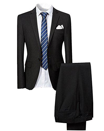 Slim Fit 2-Teilig Herren Anzug für Hochzeit Party Schwarz XXX-Large