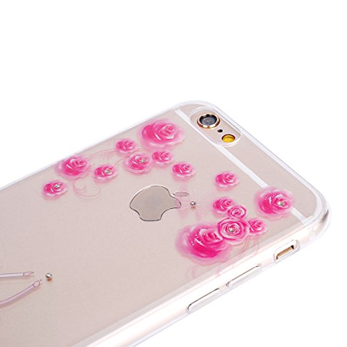 Custodia iPhone 6S 4.7 Cover iPhone 6,Ukayfe Moda UltraSlim Gel TPU Silicone Custodia per iPhone 6/6S 4.7 di placcatura, Case Morbida Soft Bling Cristallo Protettiva Custodia Brillantini Resistente ai Rose rosa Coppia