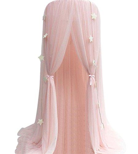 *Souarts Betthimmel Baldachin Dekohimmel für Kinder Zimmerm, Fliegennetz Mückenschutz für Kinderbetten chic Vorhang 240cm (Rosa)*