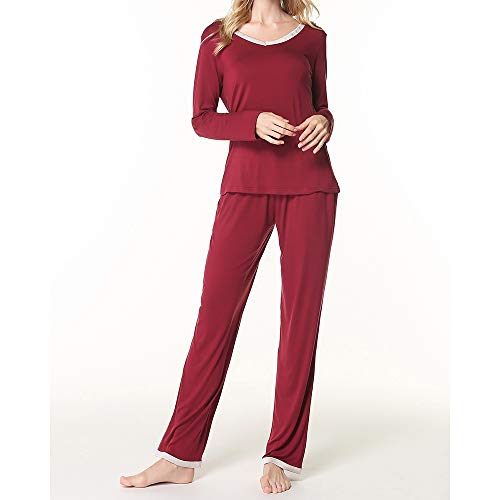 Damen Pyjama Set Zweiteiler Komfort Nachtwäsche Soft Modal Strick V-Ausschnitt Gestreifte Loungewear Langarm Sleepshirt Lounge Sets (Color : Rot, Size : M)