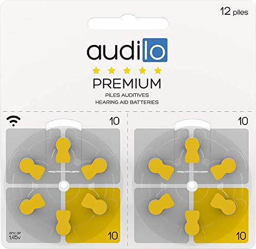 Lot de 120 piles auditives Audilo premium de taille 10 pour aide auditive intra auriculaire ou petits contours d'oreille/piles zinc air PR70 couleur jaune compatible tous appareils auditifs.