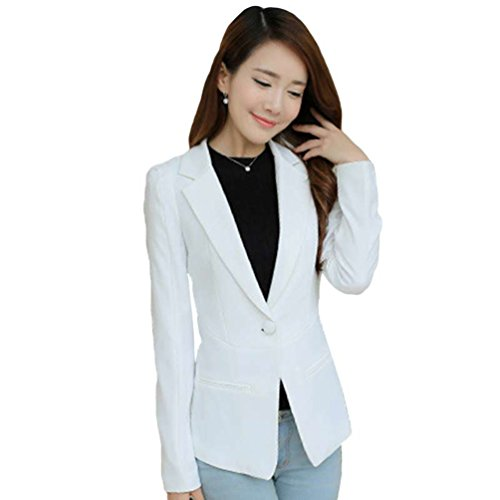 YiLianDa Donna Formale Business Giacca Cappotto Casual Jacket Slim Candy Color Long Sleeve Tops Bianco
