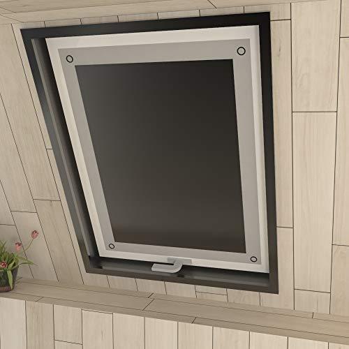 Eurohome Sonnenschutz Dachfenster Rollo ohne Bohren Schwarz Verdunkelungsrollo mit Saugnäpfen für Fenster Dachfenster Jalousien 96 x 120 cm
