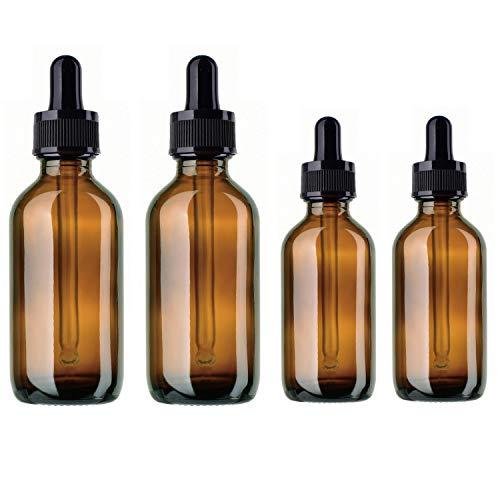 BlueXP 4 Stück 10ml 20ml Leer Braun Glasaugentropfflasche Boston Round Flaschen mit Tropfer Pipetten für ätherische Öle Parfüms Laborchemikalien Reagenzien Pharmazeutika -