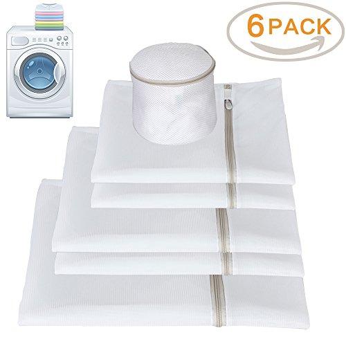 Mesh Wäschebeutel für Waschmaschine mit Beige Zip, Qozary Net Waschbeutel für Delikate, Unterwäsche, Socken - Set von 6 (Small * 2, Medium * 2, Large * 1, BH * 1) (Versteckt Vor Bluse)