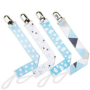 Hatime Durable 4pcs Dummy Clip Baby Pacifier Holder for Boy and Girl