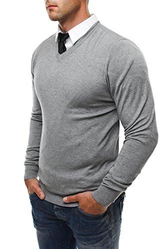 OZONEE Herren Pullover Longsleeve Sweatshirt Shirt Langarmshirt LP6002 Grau_NM8002