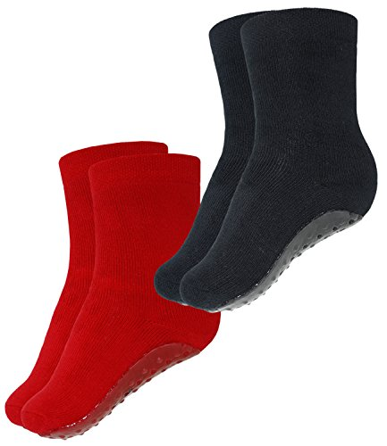EveryKid Ewers 2er Pack Mädchenstoppersocken Stoppersocken Sparpack ABS Socken Antirutsch schadstofffrei Kinder (EW-24060-S17-MA4-706-988-25/26) in Karmin-Schwarz, Größe 25/26 inkl Fashionguide