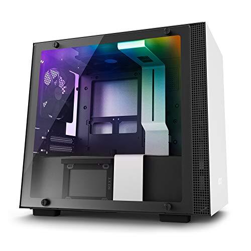 NZXT H200i - Mini-ITX-Gehäuse für Gaming-PCs - RGB-Beleuchtung und Lüftersteuerung - SmartDevice mit CAM-Unterstützung - Tempered Glass Fenster - Verbessertes Kabelmanagementsystem - Weiß/Schwarz