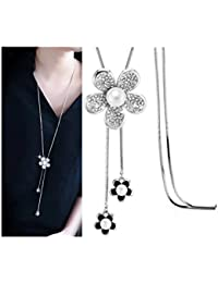 Shining Diva Fashion Jewellery Crystal Flower Stylish Long Chain Pendent Western Wear Pendant Necklace For Women...