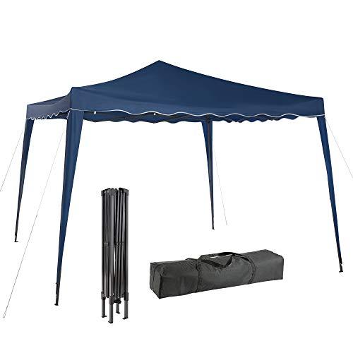 Arebos 3x3 Pavillon, Faltpavillon, Partyzelt, Festival - Wasserdicht + UV-Schutz - inkl. Heringe und Transporttasche - Anthrazit, Rot, Grün, Blau (Blau)