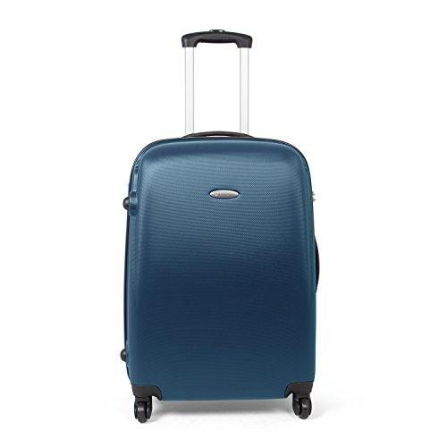 MasterGear Hartschalenkoffer aus ABS mit Reißverschluss in blau (petrol) , Koffer Hartschale in Größe: M (67 x 47 x 26 cm / 68 Liter) , Koffer 4 Rollen (360 Grad) , Trolley, Reisekoffer, TSA Schloss
