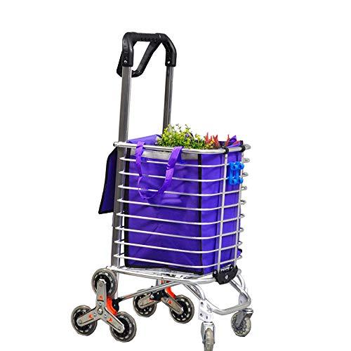 Einkaufswagen Leichte Aluminiumlegierung 8 Rad Warenkorb Leichte Treppensteigen Warenkorb, 177 Pfund Kapazität
