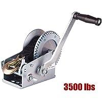 RUNGAO - Manivela Manual de Doble Engranaje 1590KG/3500lbs para Remolque ATV RV (Cable DE 10 m)
