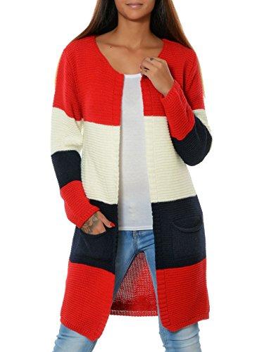 Damen Strickjacke Pullover Cardigan Mantel Langarm (weitere Farben) 15777, Farbe:Rot, Größe:One Size