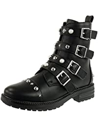 napoli-fashion Damen Stiefeletten Biker Boots Nieten Schnallen Leder-Optik Damen Stiefeletten Braun 40 Jennika
