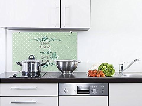 Graz Design® Spritzschutz Glas für die Küche Keep calm and bake a cake Punkte grün Dots weiß (80x50cm)