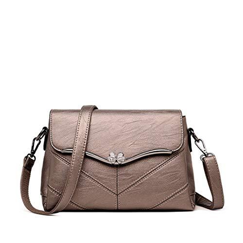 Skyinbags Meine Damen Umhängetaschen Reine Farben Fashion Weiches Leder Simple, Bronze Farbe