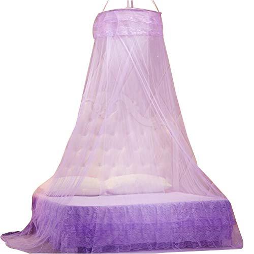 Vosarea Cúpula de Red para Mosquitos con Dosel de Princess Bed con Elegante Volante de Encaje para niñas y bebés (púrpura, con 1 Gancho)