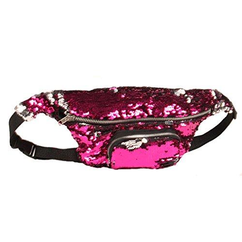 BZLine® Unisex Outdoor Sport Casual Double Color Sequins Taille Pack Tasche C