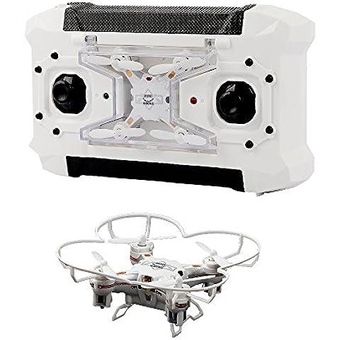 TEC.BEAN Súper Mini drone RC de bolsillo con giro 3D, modo sin mando, una tecla de retorno RTF 4 Canales 6 ejes del giroscopio Quadcopter (Blanco)