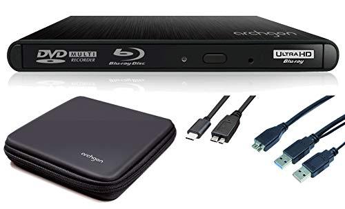 Archgon Style UHD Externer 4K-Ultra HD BD Player, Blu-ray BDXL Brenner für PC USB 3.0 / -C, M-Disk, Schutzbox, Alu schwarz