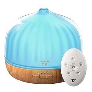 500ML Diffusore Oli Essenziali TaoTronics, Diffusore di Aromi Ultrasuoni con Telecomando fino a 6 m, Stupendo Umidificatore, Funzione Sveglia, 14 Opzioni Colorate LED per Ufficio Casa Regalo