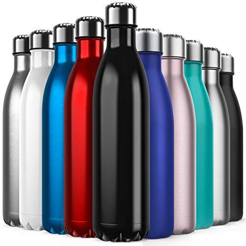 BICASLOVE Vakuum Isolierte Edelstahl Trinkflasche - 750ml, Die Thermoskanne hält 18 Stunden heiß und 24 Stunden kalt für Kinder, Kleinkinder, Schule, Sport, Outdoor, Fitness, Büro(Schwarz)