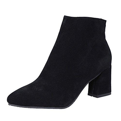 Damenschuhe Elegant Stiefeletten Ankle Boots - hibote 2017 Trendige Damen Stiefeletten Pumps Stiefel Mid Heels Stiefel