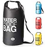 Bolsa Estanca Bolsa Seca Dry Bag Impermeable para Kayak Canotaje Pesca, Rafting Snowboarding Cámping Al Aire Libre - tamaño Opcional y Color garantizar frío-Clima confort-10L /20L (Negro, 20L)