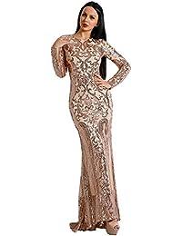 dc335858bb7e Missord women's O Neck Long Sleeve Retro Sequin Maxi Gorgeous Evening Dress  FT8578