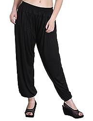 Myshka Womens Black Solid Cotton Lycra Harem Pants_HM09Blaack-free