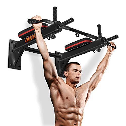 OneTwoFit Barra con Supporto da Muro Barra per Esercizi Chin Up Stazione Domestica da Allenamento Completa Body Trainer con Occhiello Punching Bag per Power Boxing OT066R